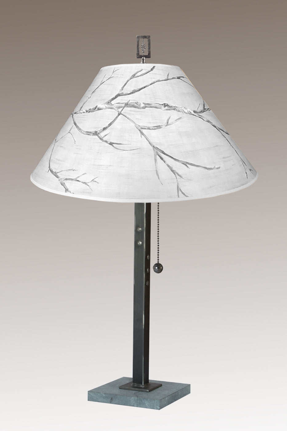 Steel Table Lamp on Italian Marble with Large Conical Shade in Sweeping Branch