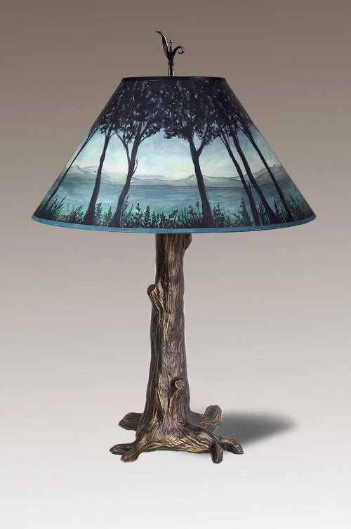 Bronze Tree Table Lamp with Large Conical Shade in Twilight
