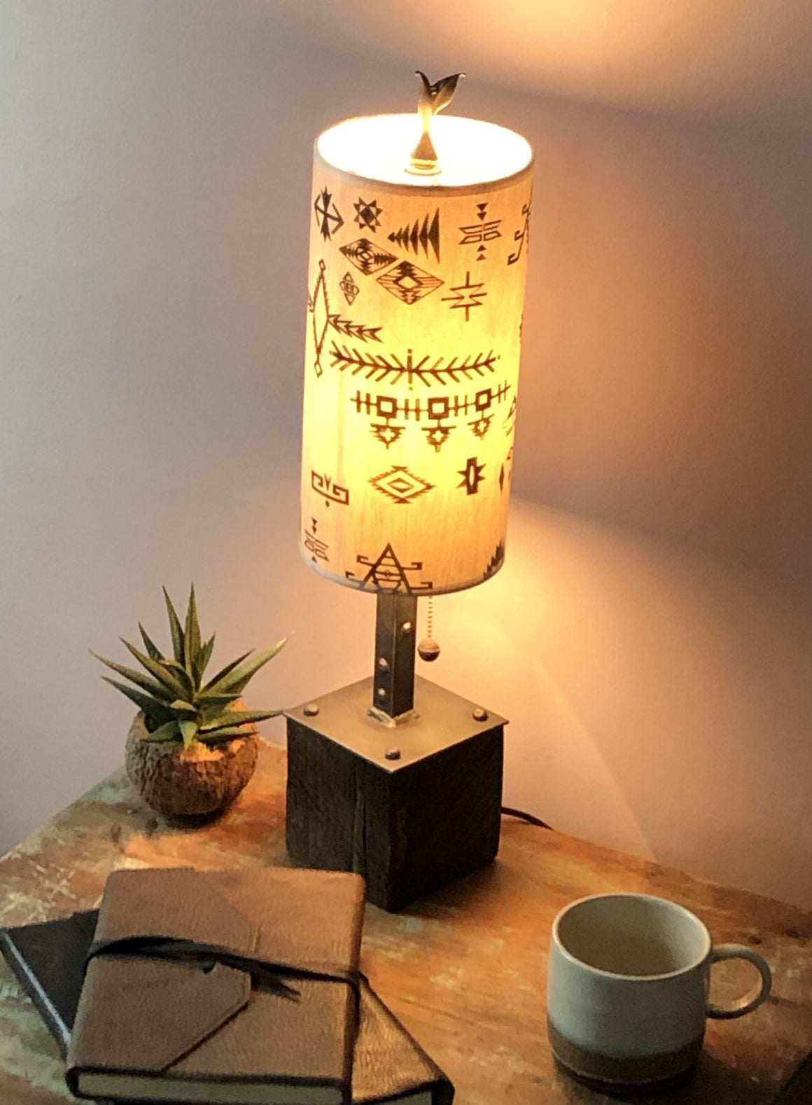 Steel Table Lamp on Reclaimed Wood with Small Tube Shade in Blanket Sketch