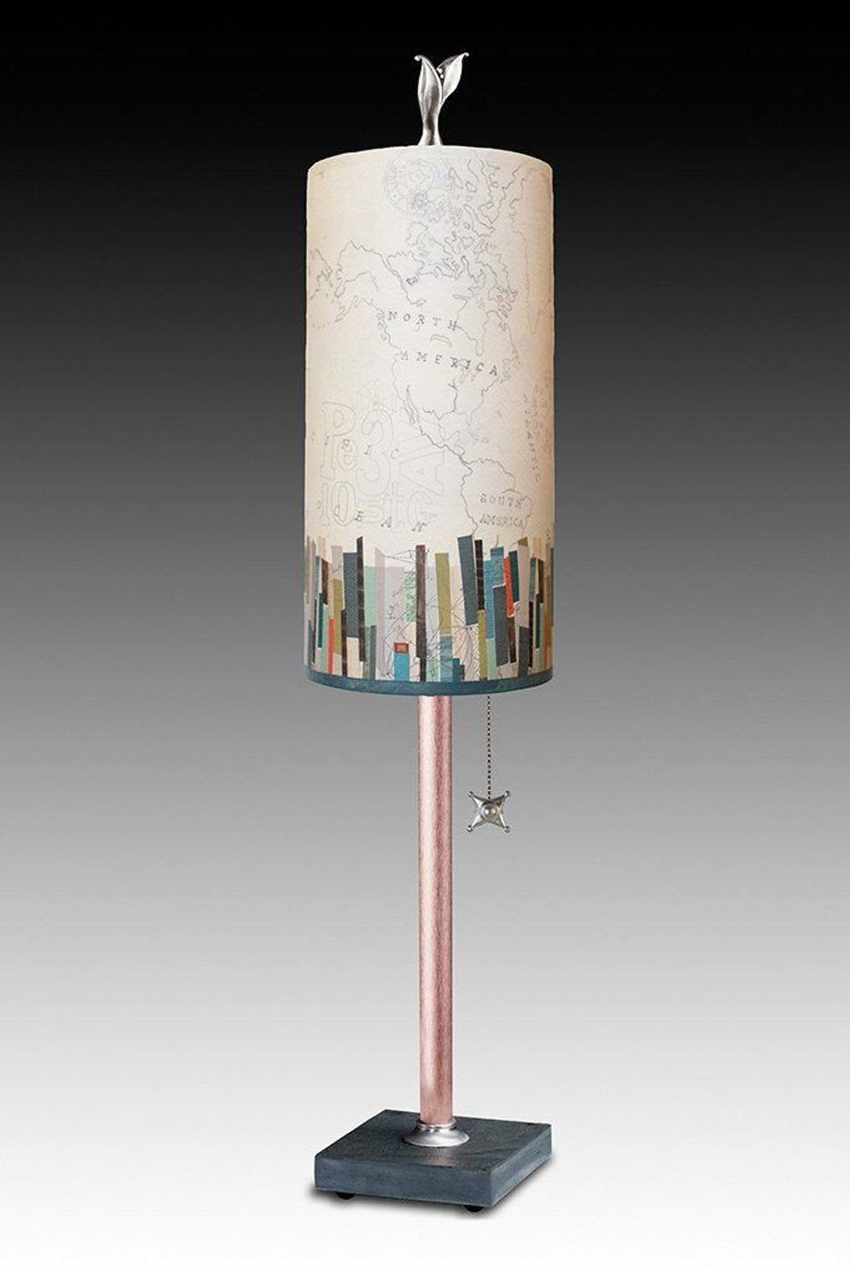 Copper Table Lamp on Vermont Slate with Small Tube Shade in Papers Edge
