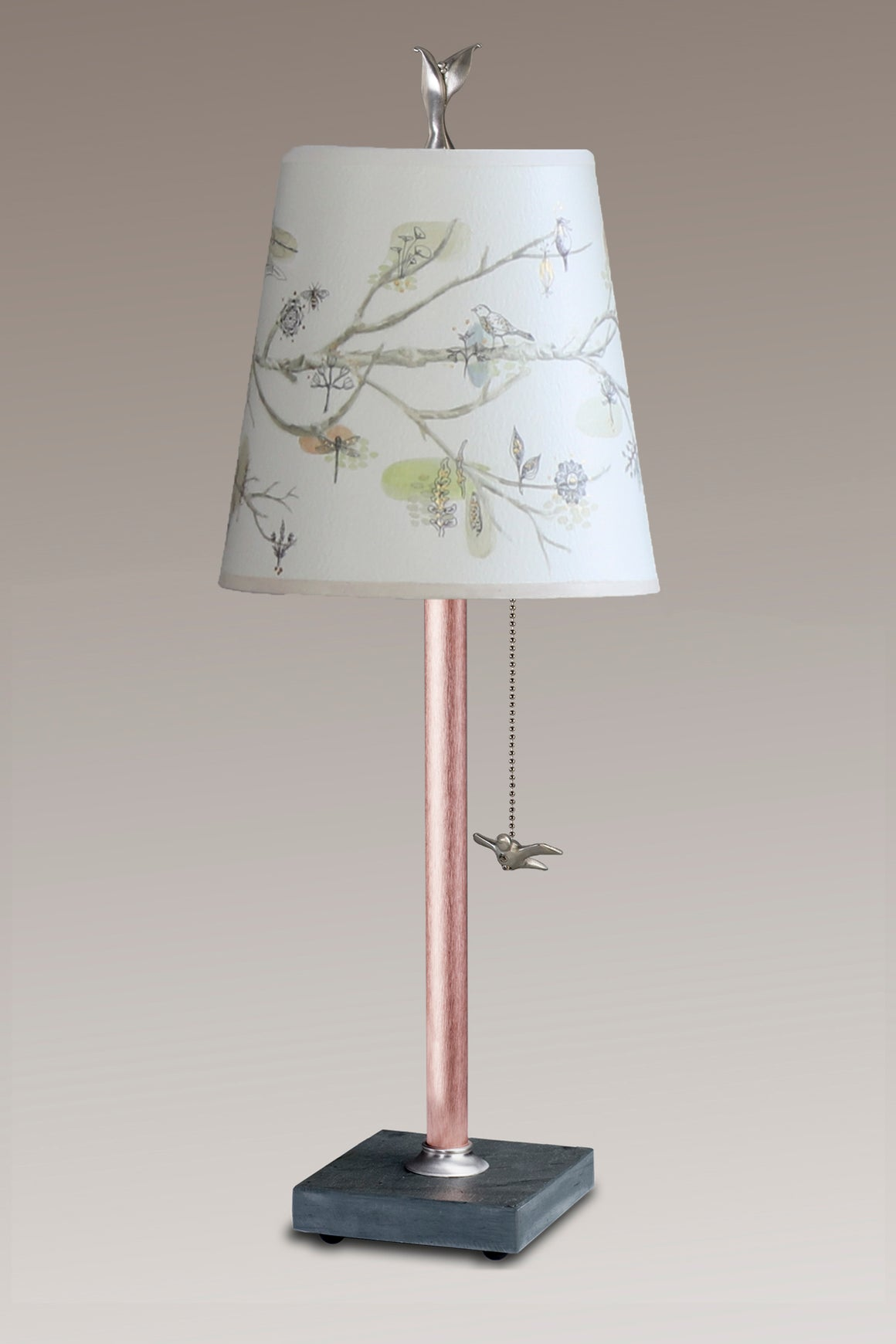 Copper Table Lamp on Vermont Slate Base with Small Drum Shade in Artful Branch
