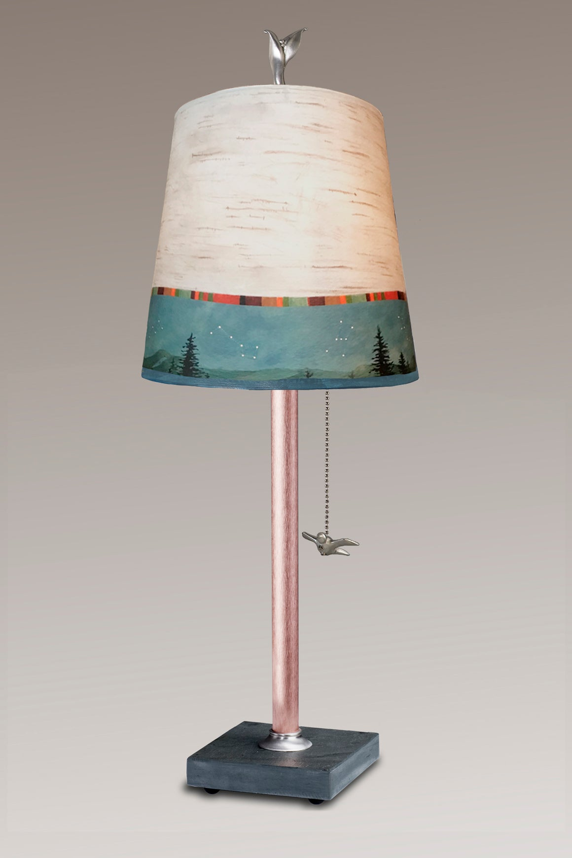 Copper Table Lamp on Vermont Slate Base with Small Drum Shade in Birch Midnight
