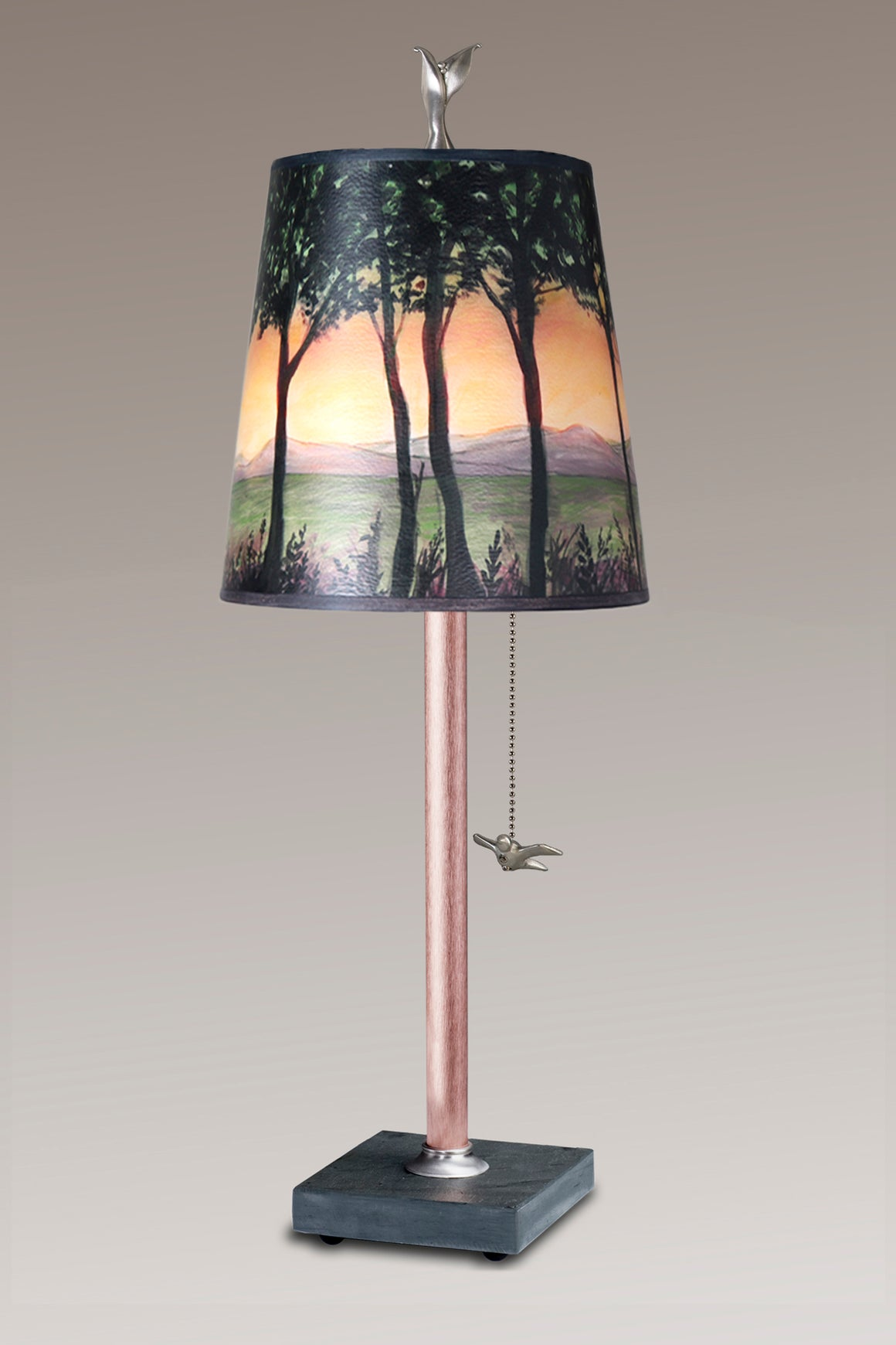 Copper Table Lamp on Vermont Slate Base with Small Drum Shade in Dawn