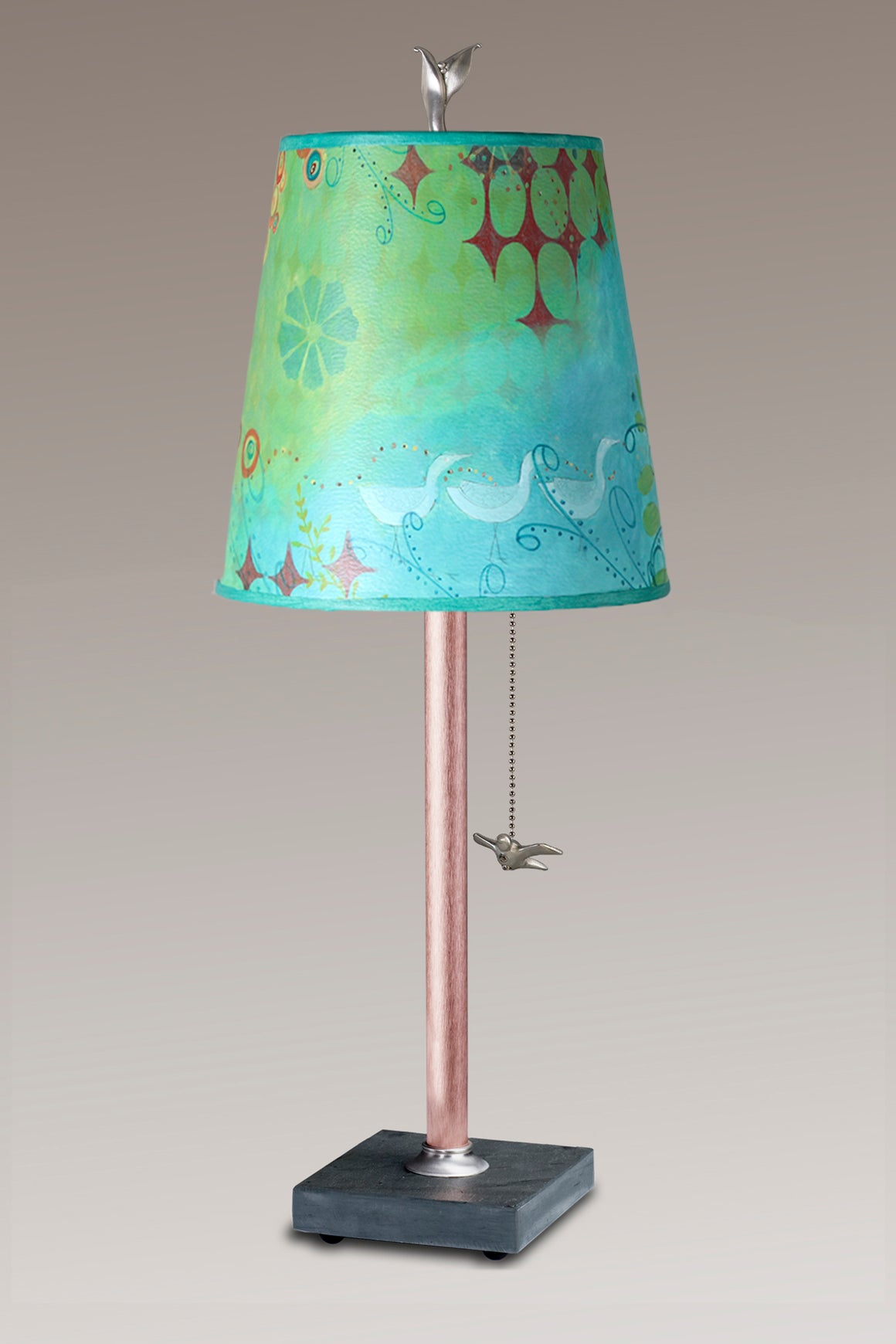Copper Table Lamp on Vermont Slate Base with Small Drum Dream Bird