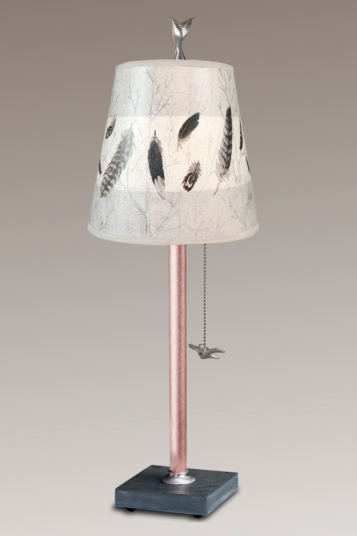Copper Table Lamp on Vermont Slate Base with Small Drum in Feathers in Pebble