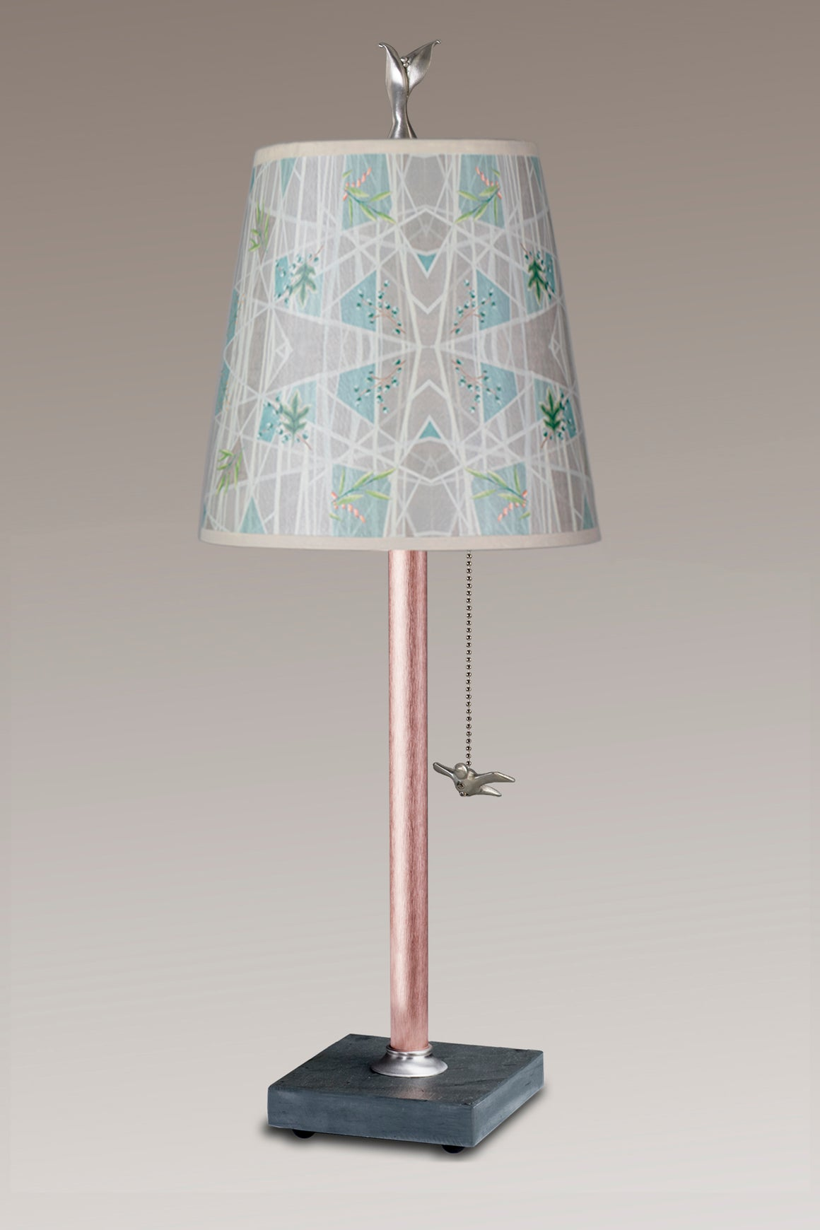 Copper Table Lamp on Vermont Slate Base with Small Drum in Prism
