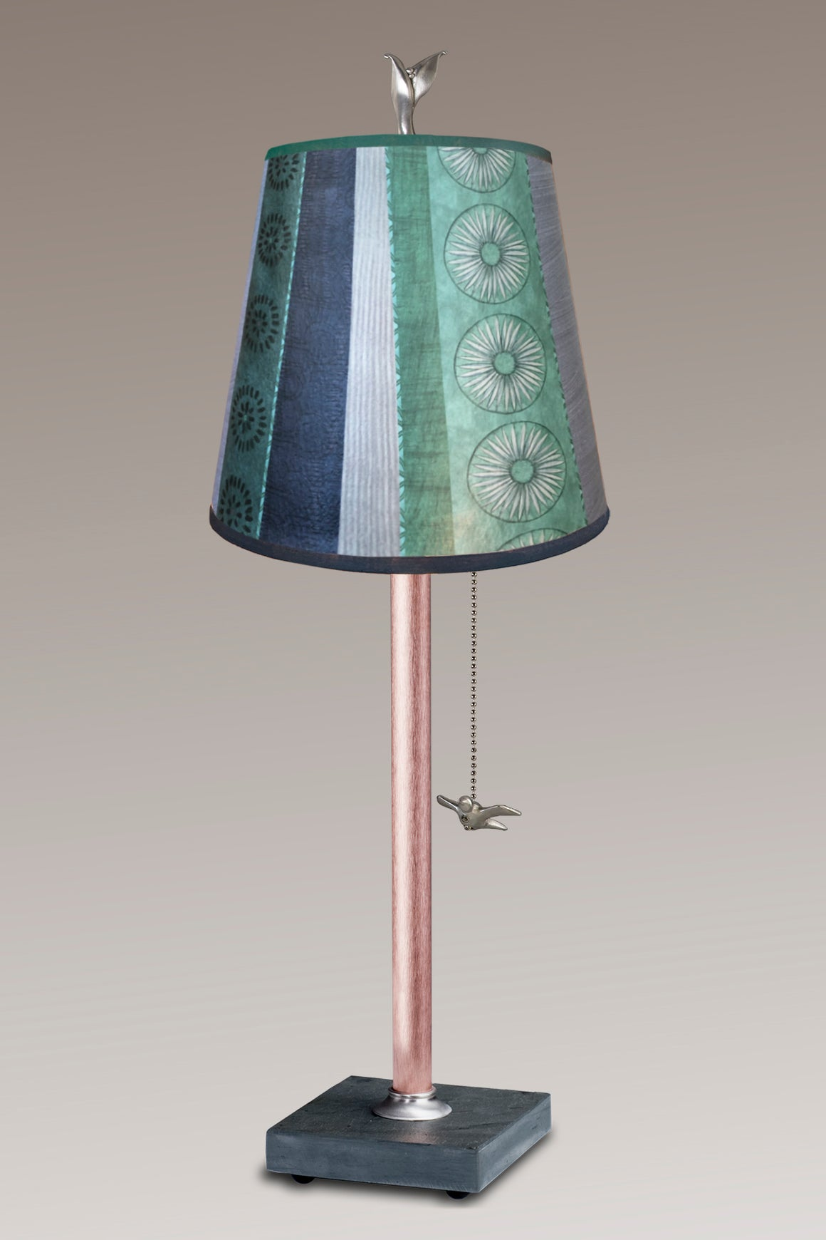Copper Table Lamp on Vermont Slate Base with Small Drum Shade in Serape Waters