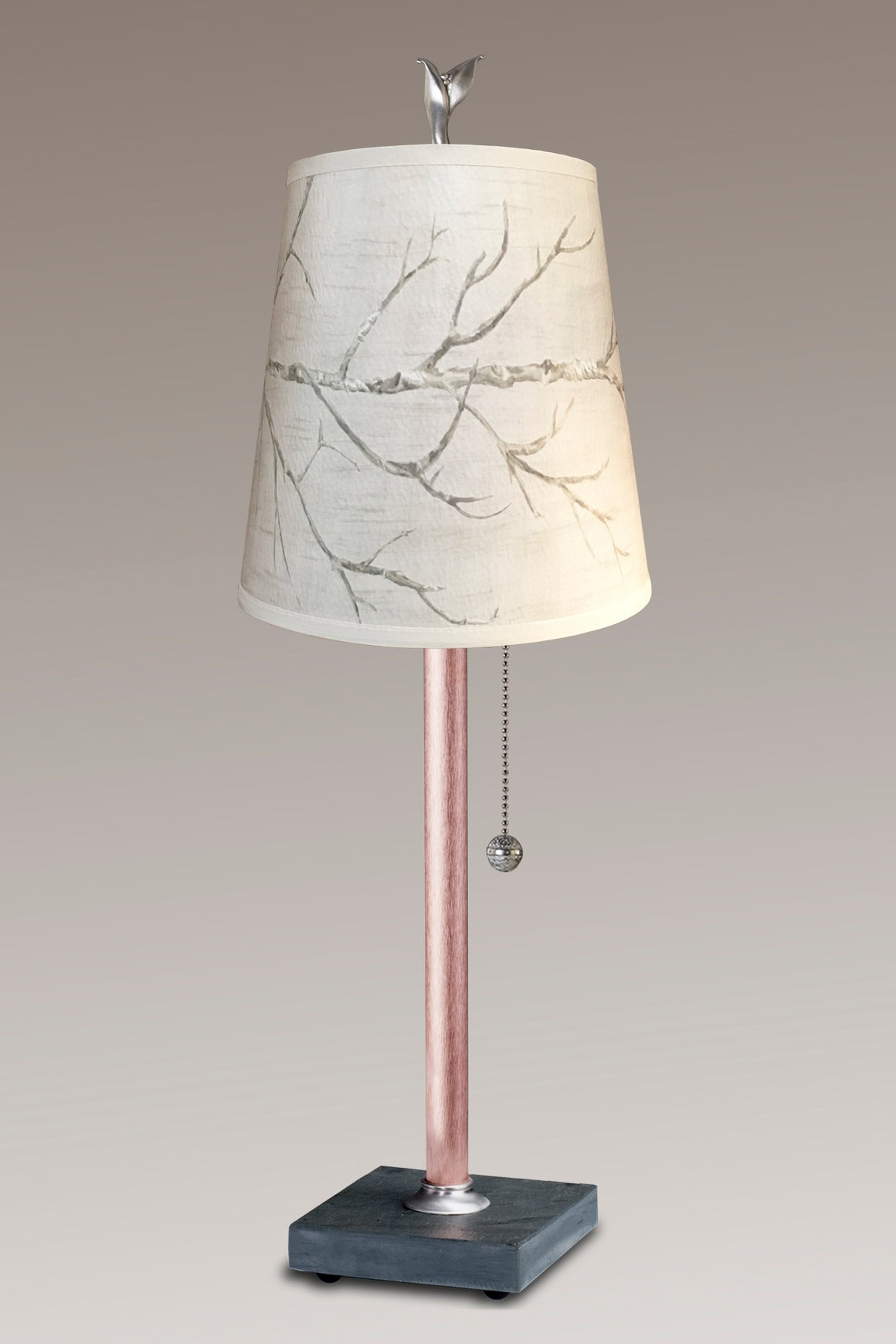 Copper Table Lamp on Vermont  Slate Base with Small Drum Shade in Sweeping Branch