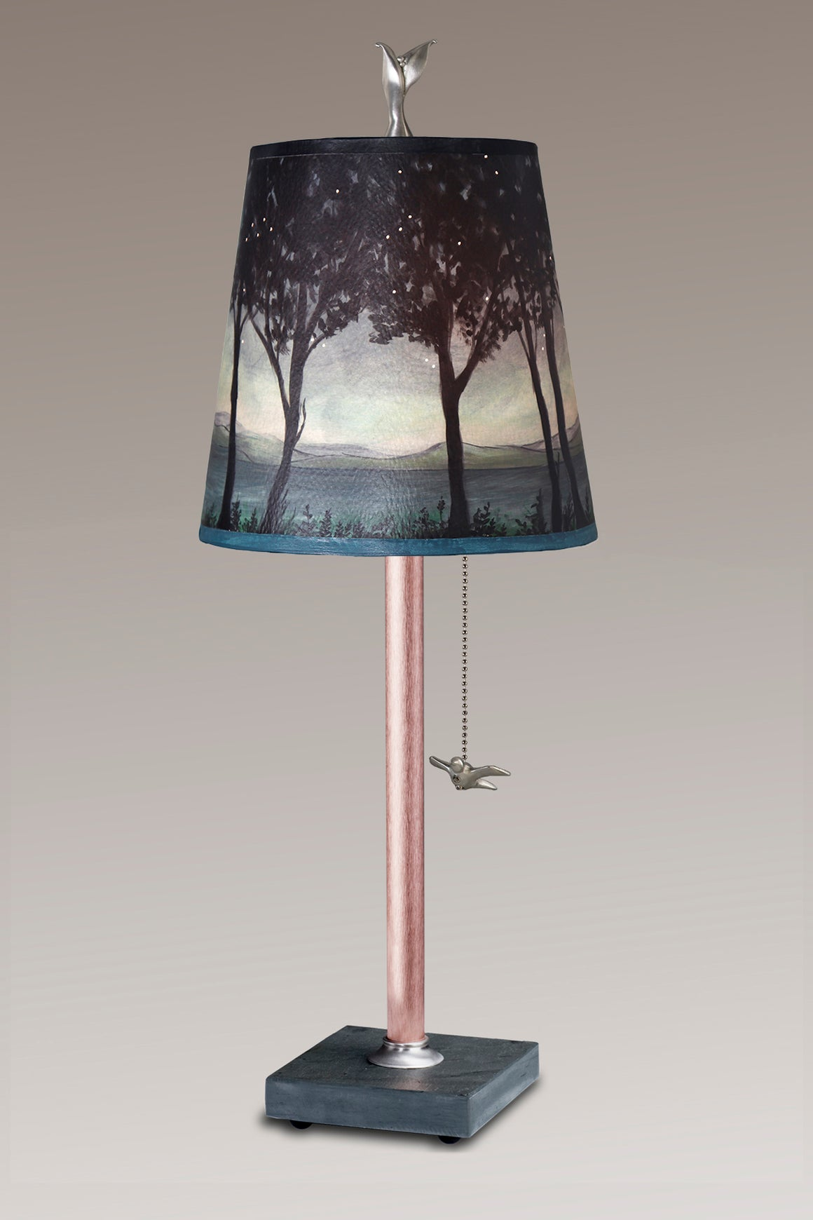 Copper Table Lamp on Vermont Slate Base with Small Drum Twilight