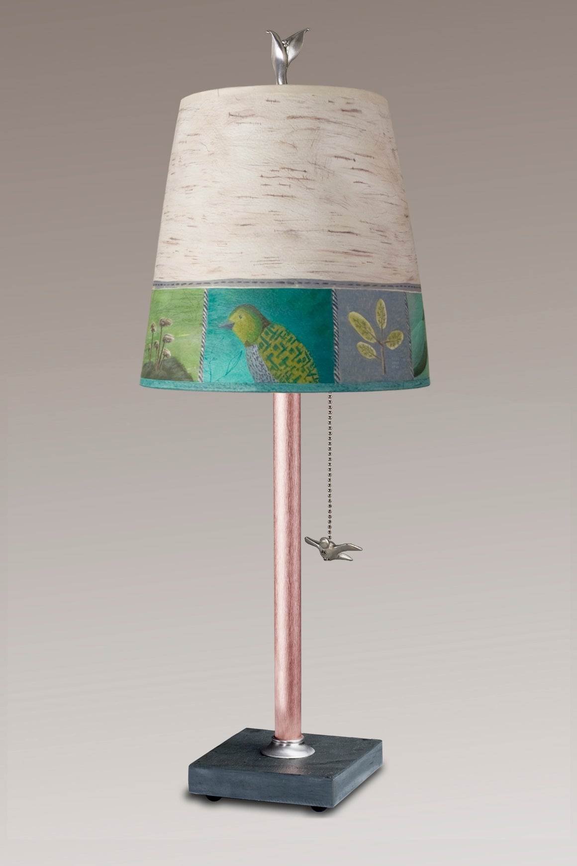Copper Table Lamp on Vermont Slate Base with Small Drum Woodland Trails in Birch