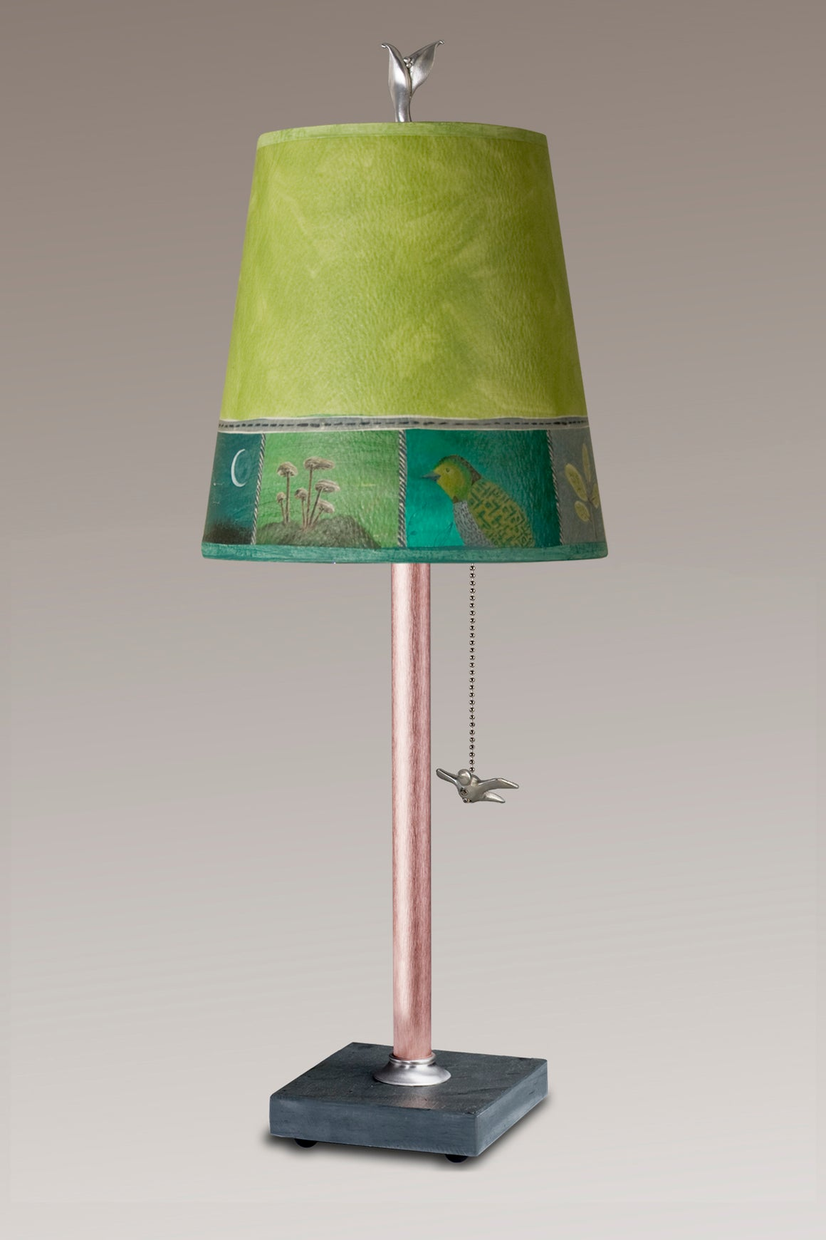 Copper Table Lamp on Vermont Slate Base with Small Drum Woodland Trails in Leaf