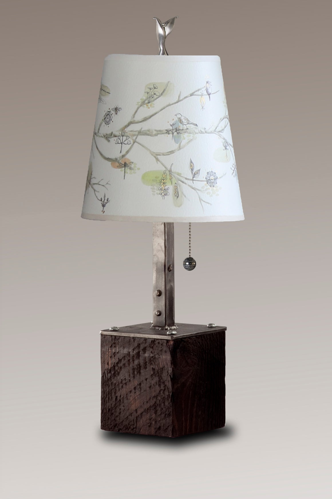 Steel Table Lamp on Reclaimed Wood with Small Drum Shade in Artful Branch