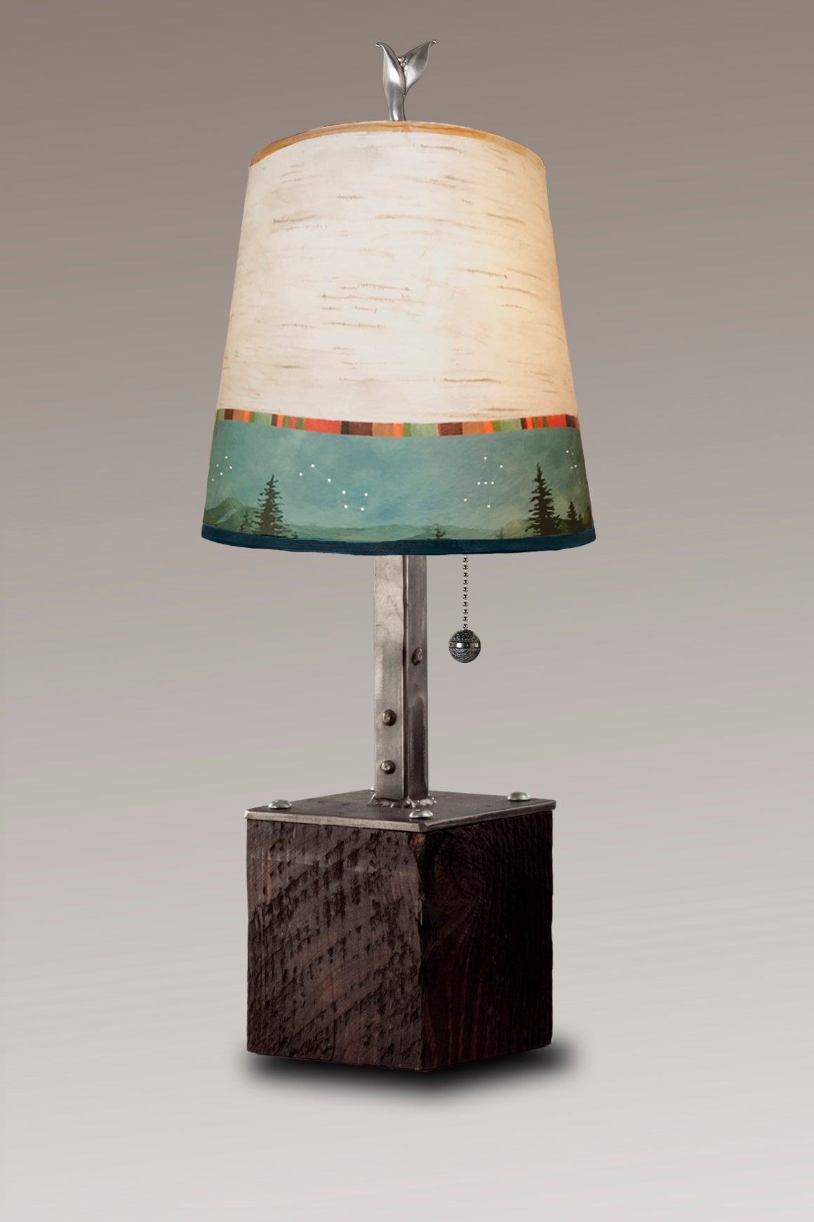 Steel Table Lamp on Reclaimed Wood with Small Drum Shade in Birch Midnight