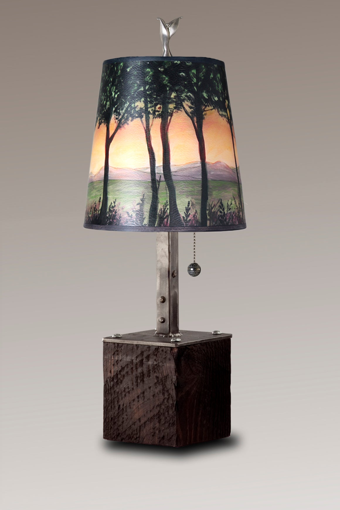 Steel Table Lamp on Reclaimed Wood with Small Drum Shade in Dawn