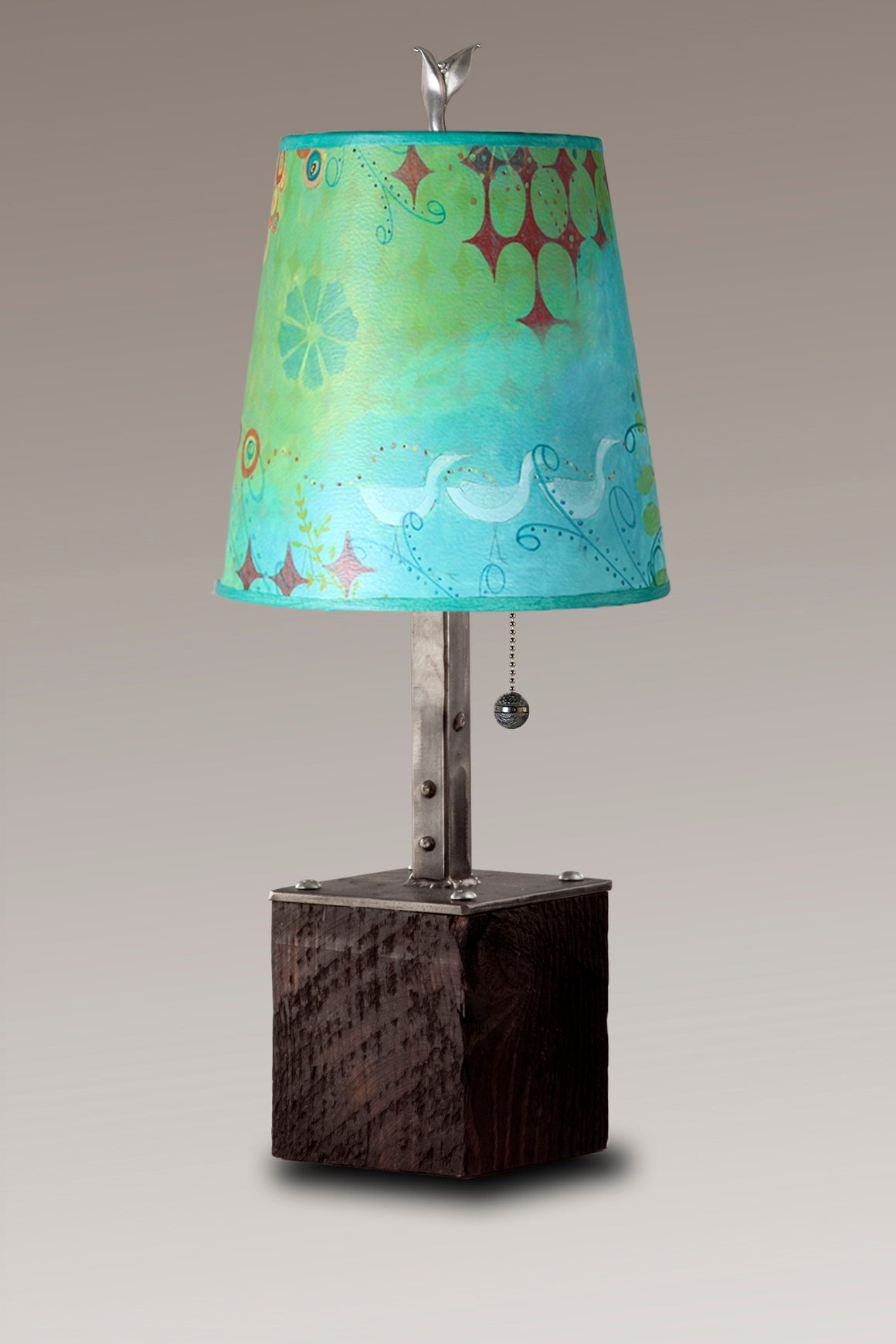 Steel Table Lamp on Reclaimed Wood with Small Drum Shade in Dream Bird