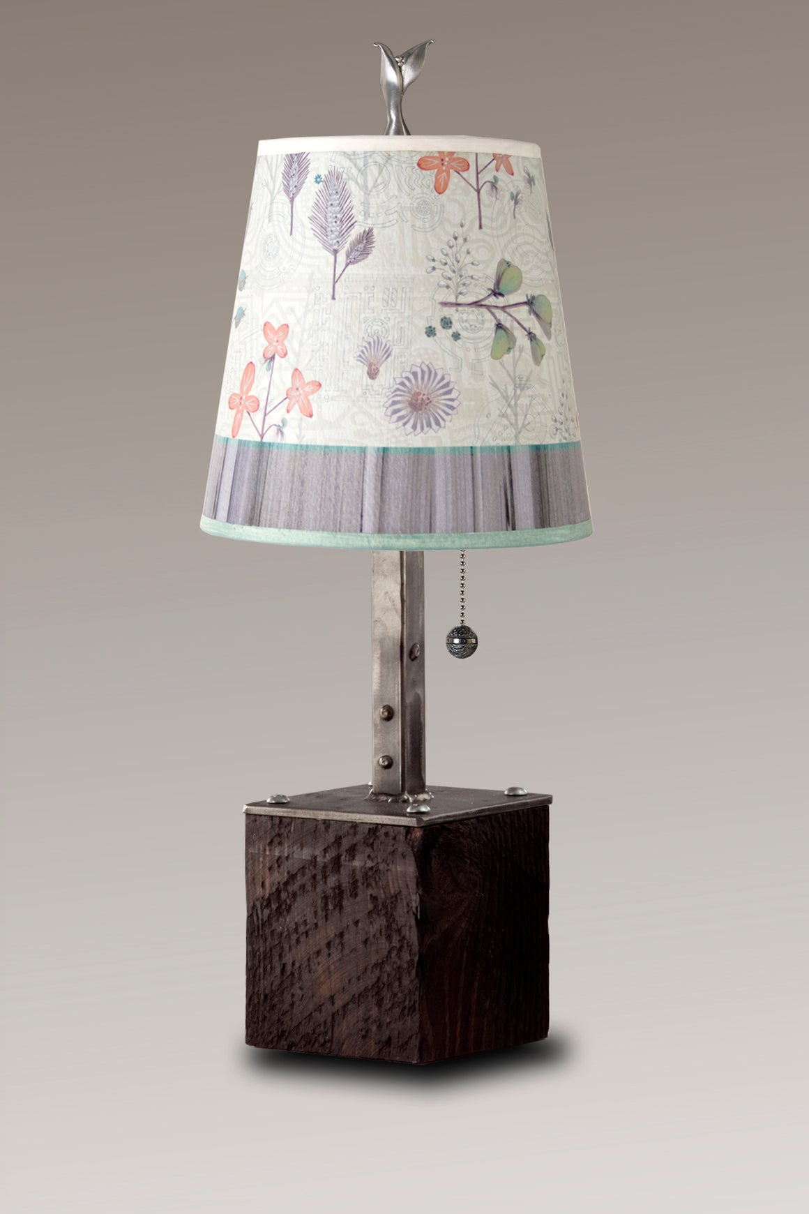 Steel Table Lamp on Reclaimed Wood with Small Drum Shade in Flora & Maze