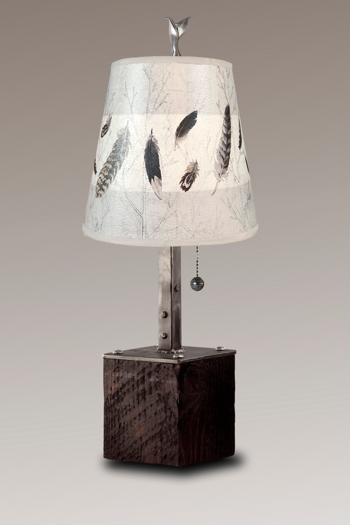 Steel Table Lamp on Reclaimed Wood with Small Drum Shade in Feathers in Pebble