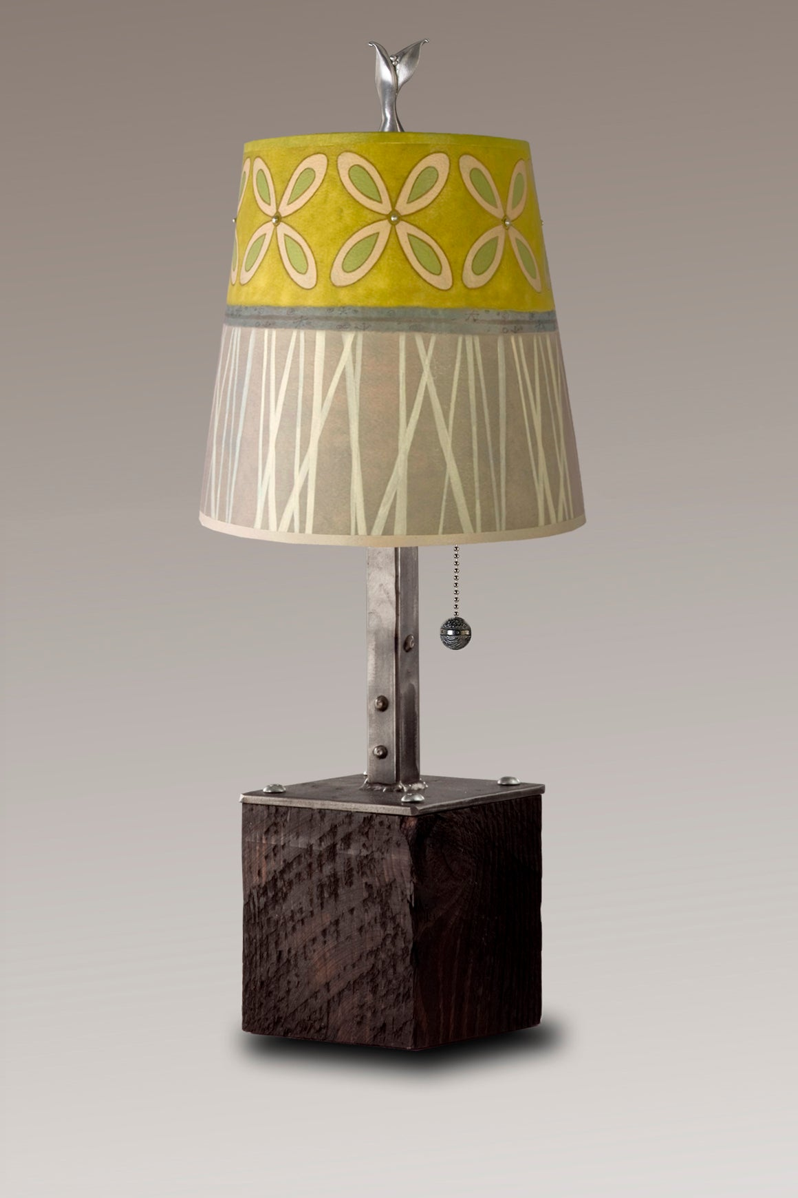 Steel Table Lamp on Reclaimed Wood with Small Drum Shade in Kiwi