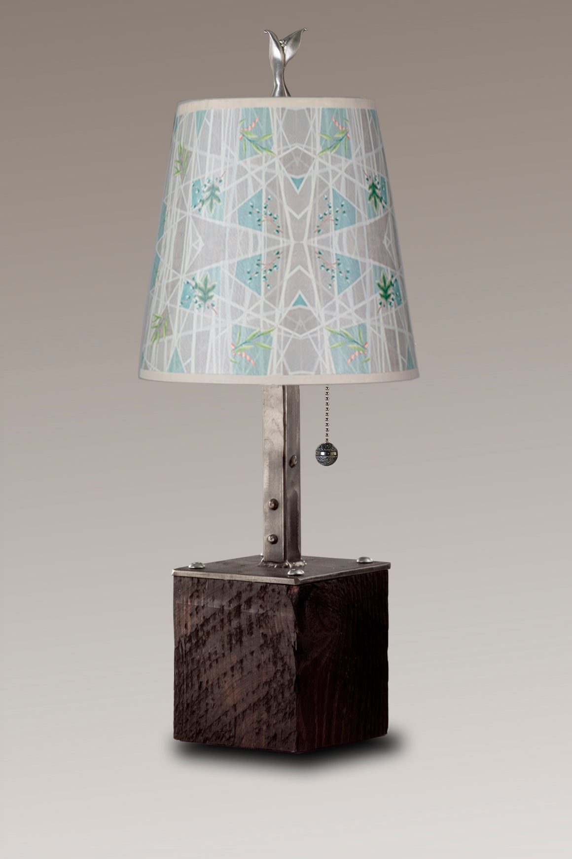 Steel Table Lamp on Reclaimed Wood with Small Drum Shade in Prism