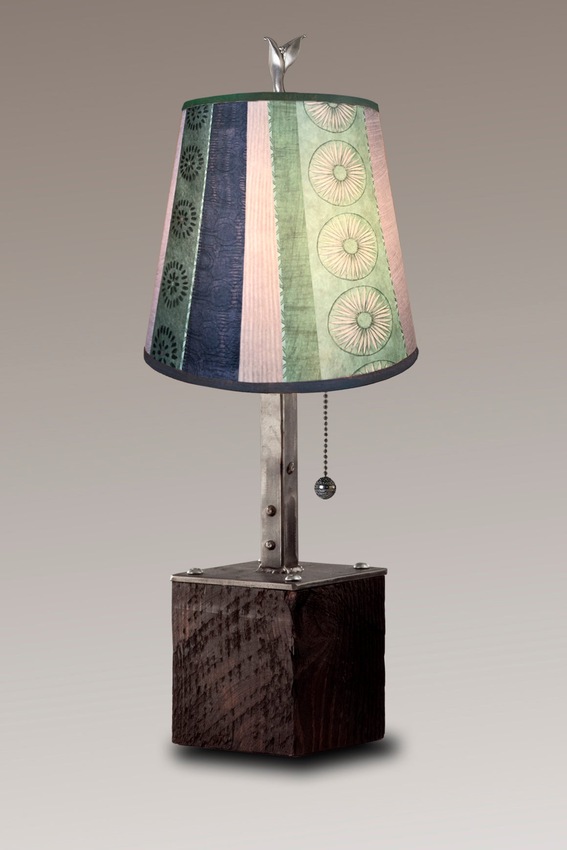 Steel Table Lamp on Reclaimed Wood with Small Drum Shade in Serape Waters