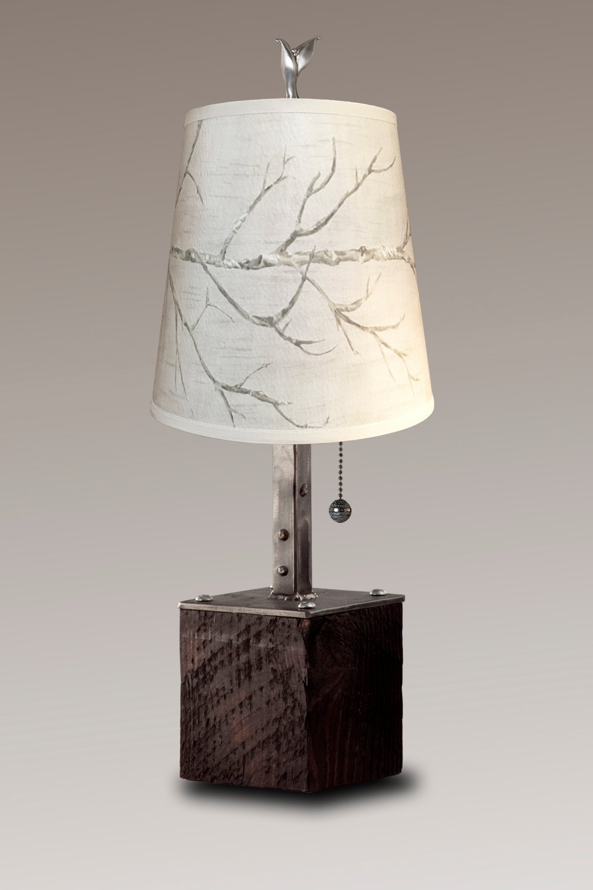 Steel Table Lamp on Reclaimed Wood with Small Drum Shade in Sweeping Branch