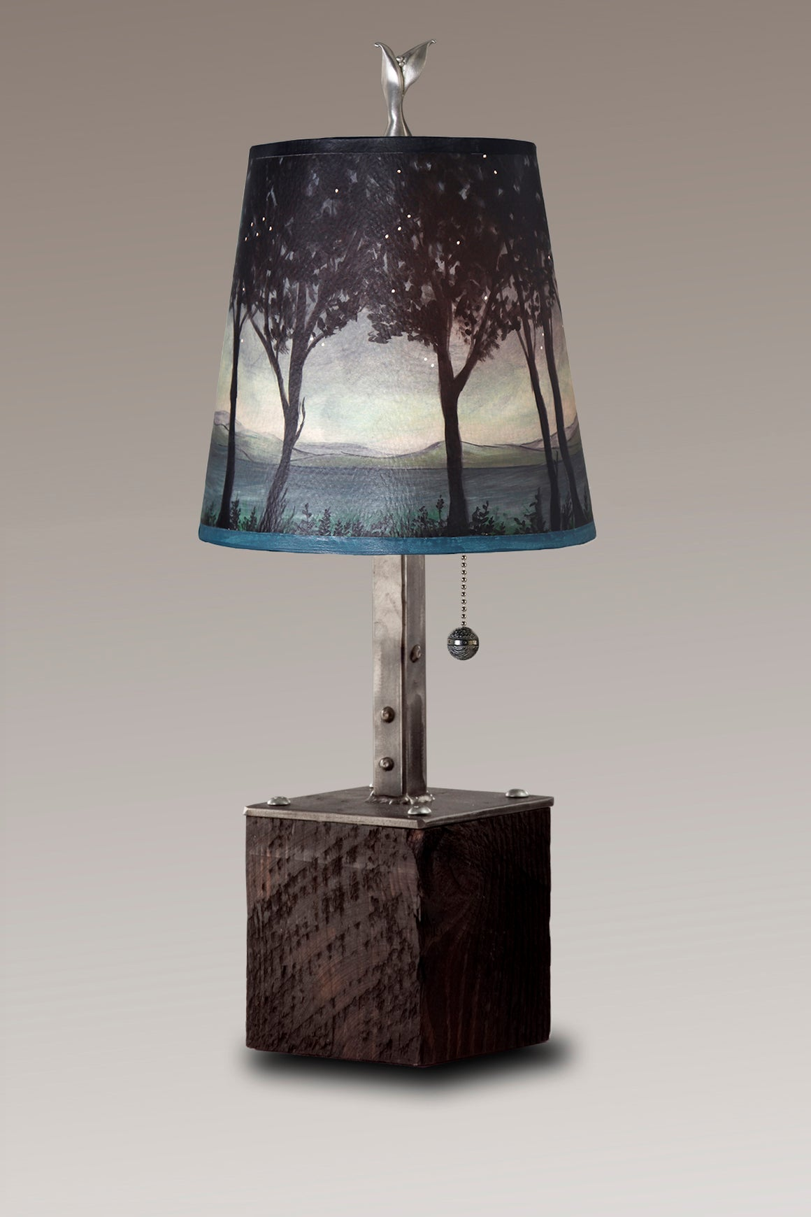 Steel Table Lamp on Reclaimed Wood with Small Drum Shade in Twilight