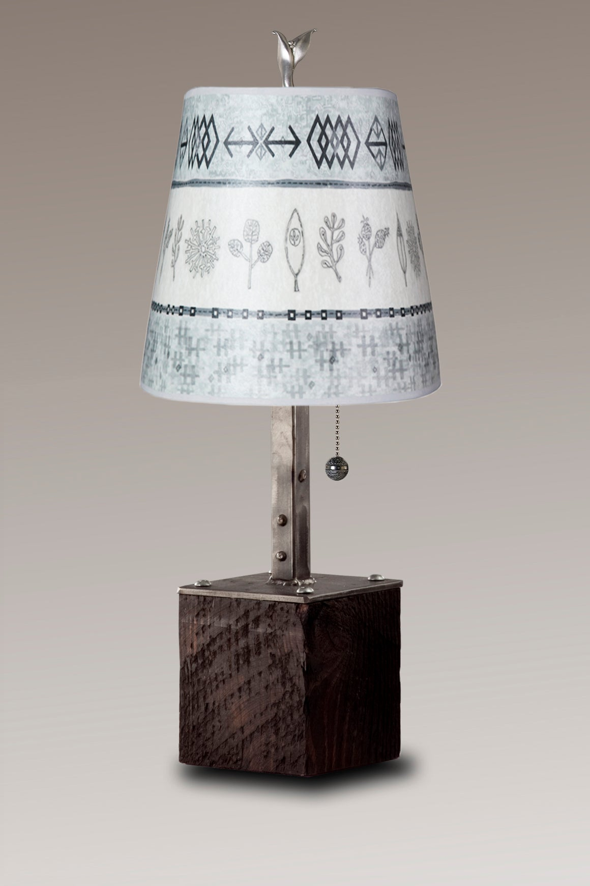 Steel Table Lamp on Reclaimed Wood with Small Drum Shade in Woven & Sprig in Mist
