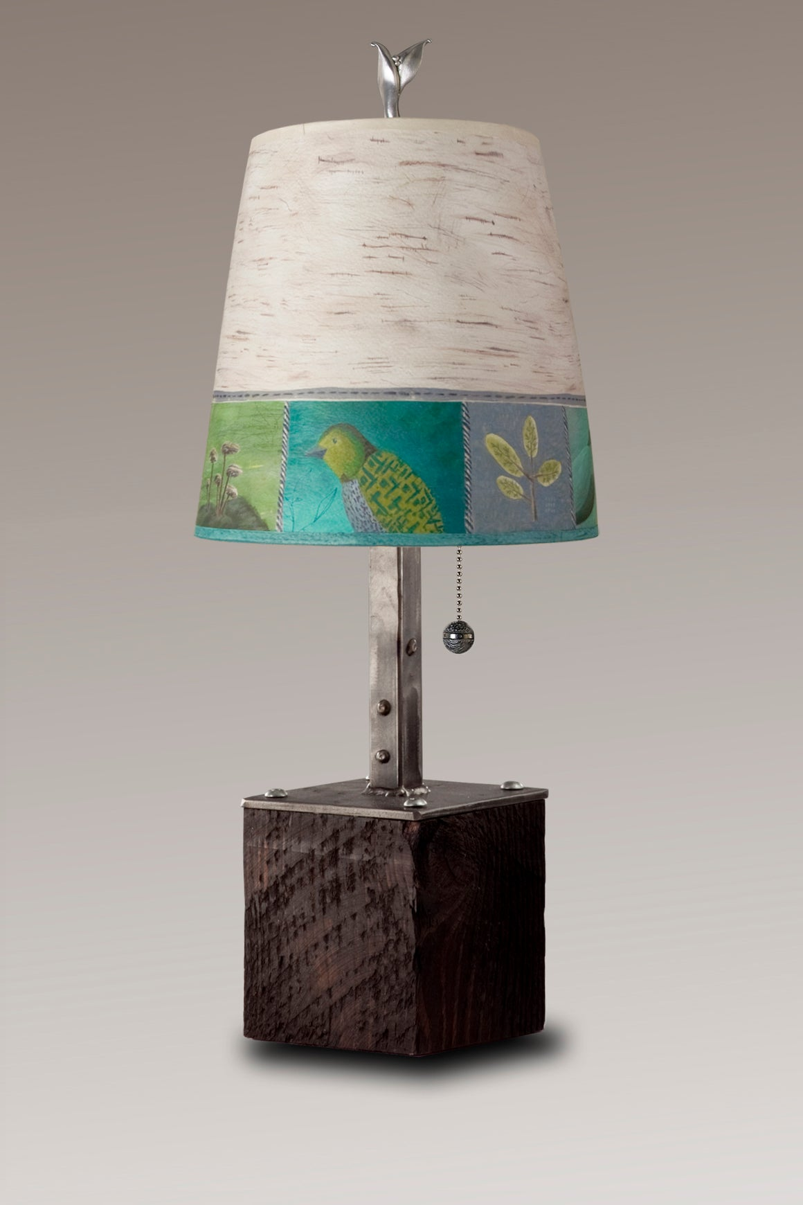 Steel Table Lamp on Reclaimed Wood with Small Drum Shade in Woodland Trails in Birch