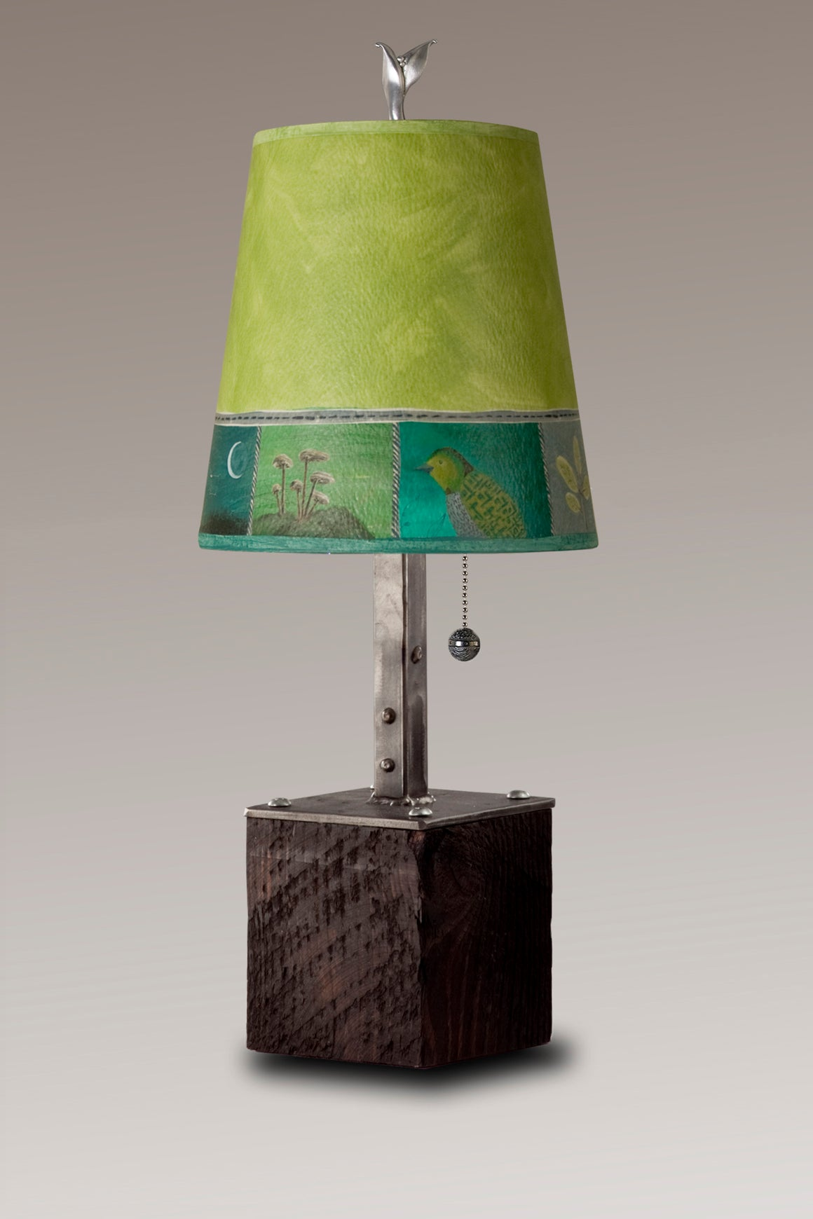 Steel Table Lamp on Reclaimed Wood with Small Drum Shade in Woodland Trails in Leaf