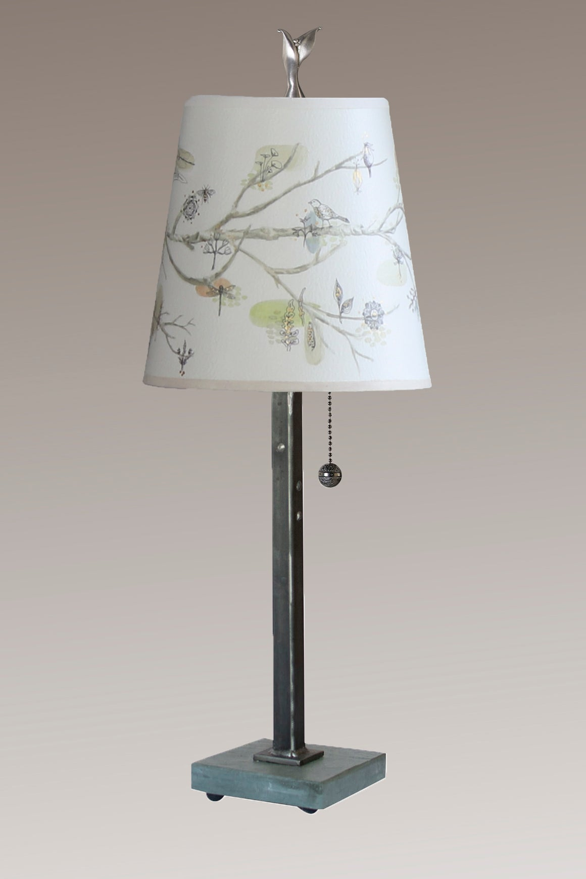 Steel Table Lamp on Vermont Slate Base with Small Drum Shade in Artful Branch