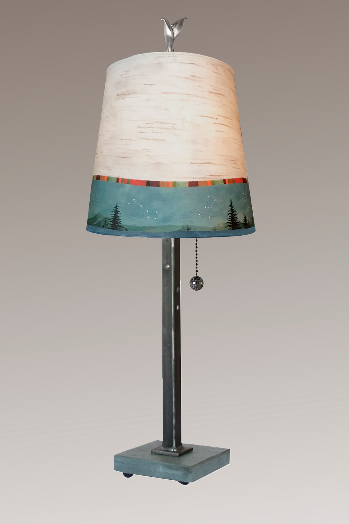 Steel Table Lamp on Vermont Slate Base with Small Drum Shade in Birch Midnight