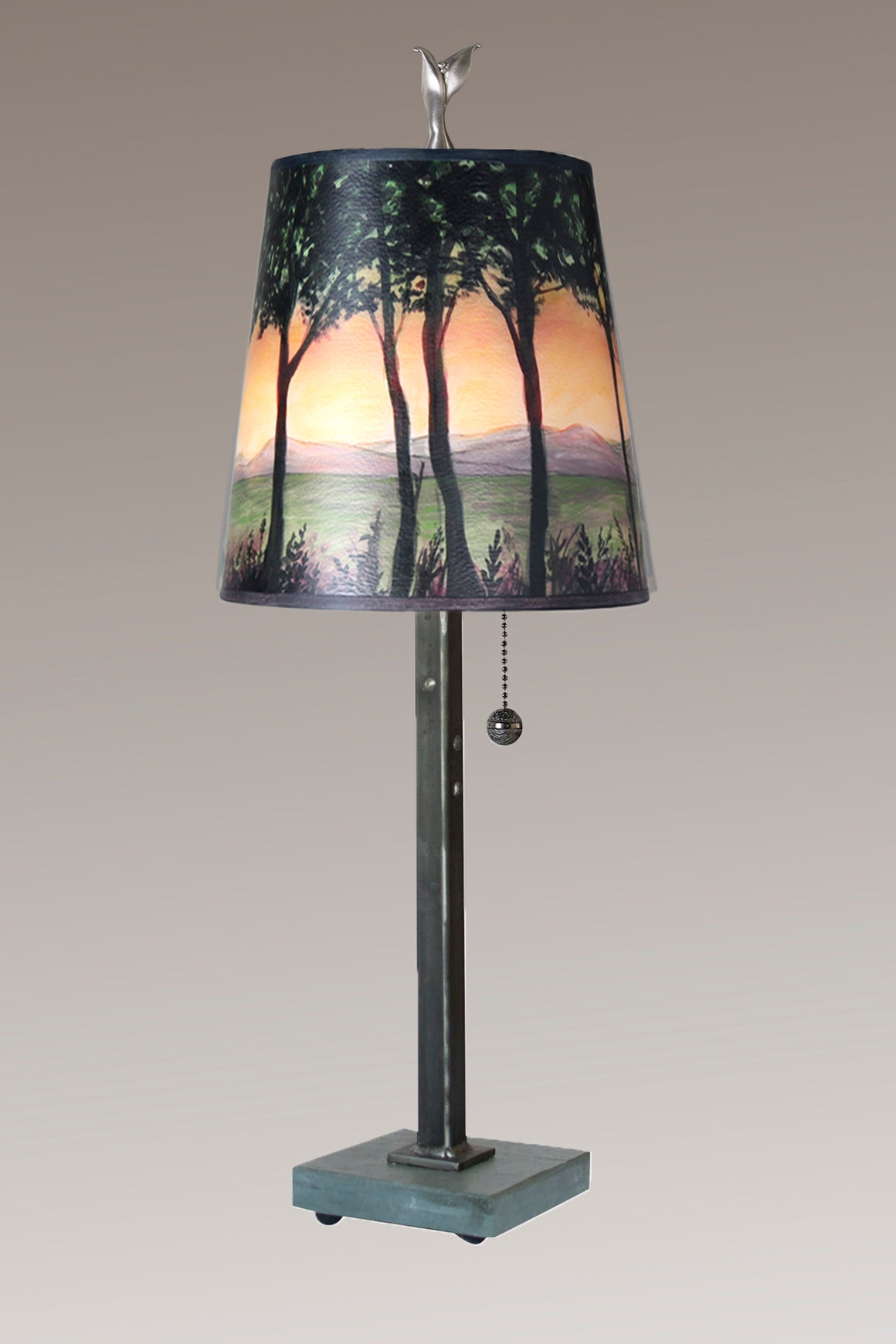 Steel Table Lamp on Vermont Slate Base with Small Drum Shade in Dawn