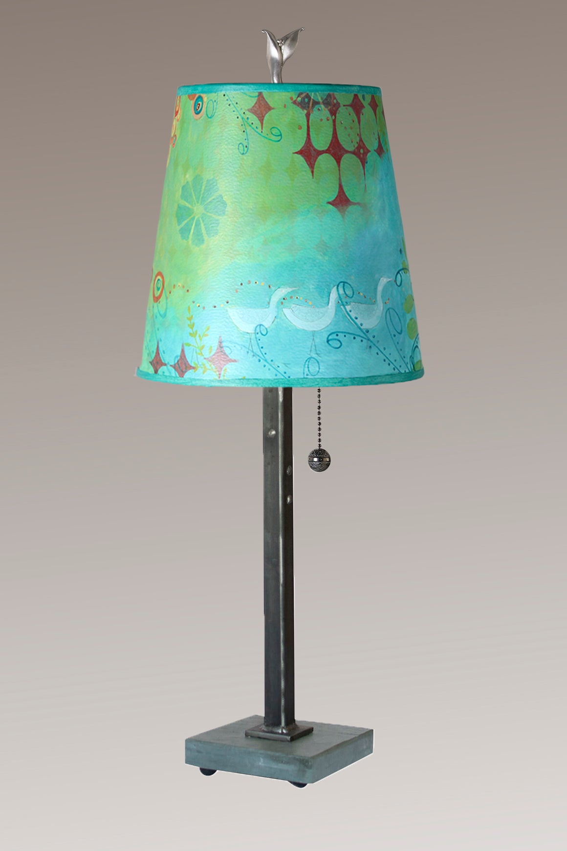 Steel Table Lamp on Vermont Slate Base with Small Drum Shade in Dream Bird
