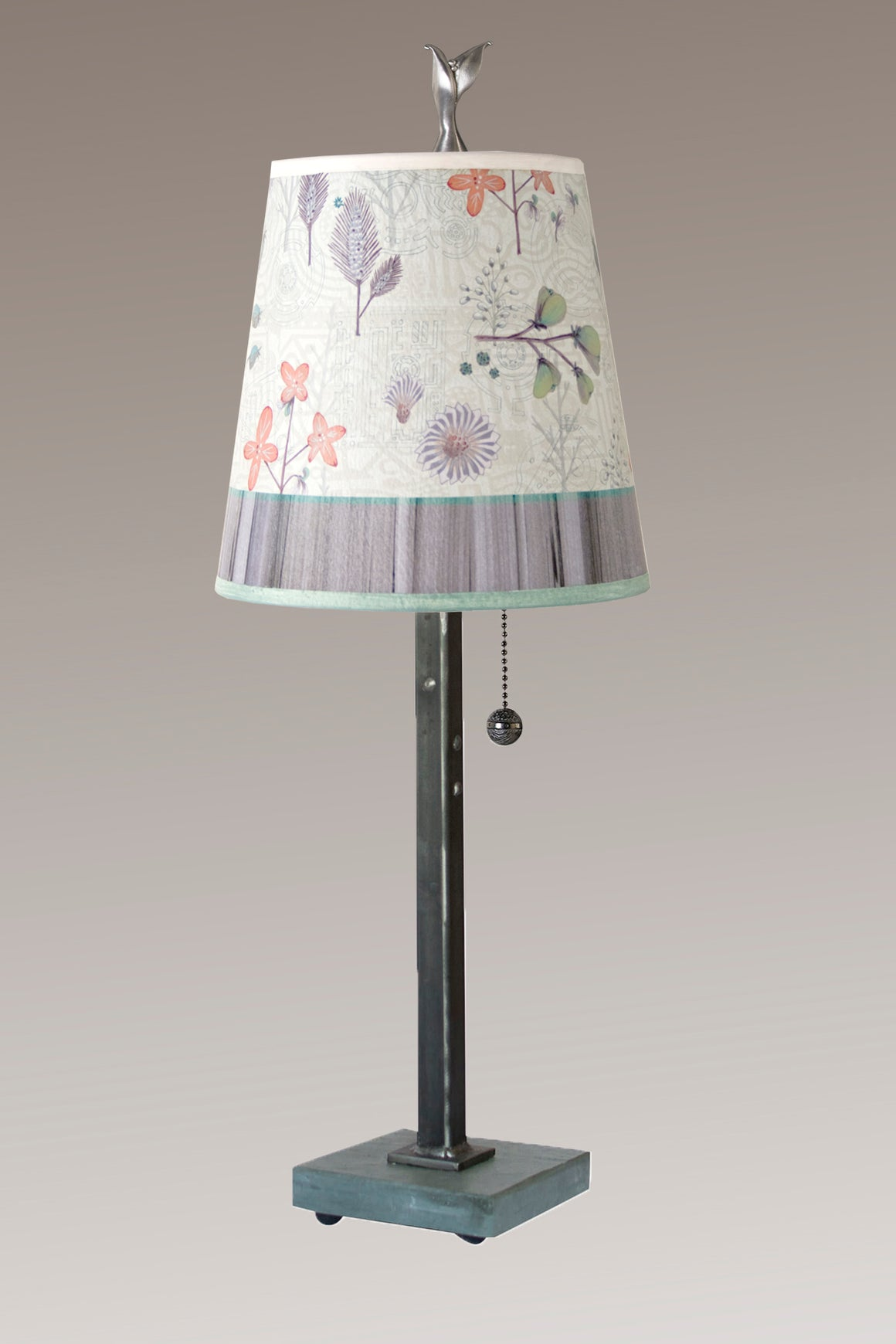 Steel Table Lamp on Vermont Slate Base with Small Drum Shade in Flora & Maze