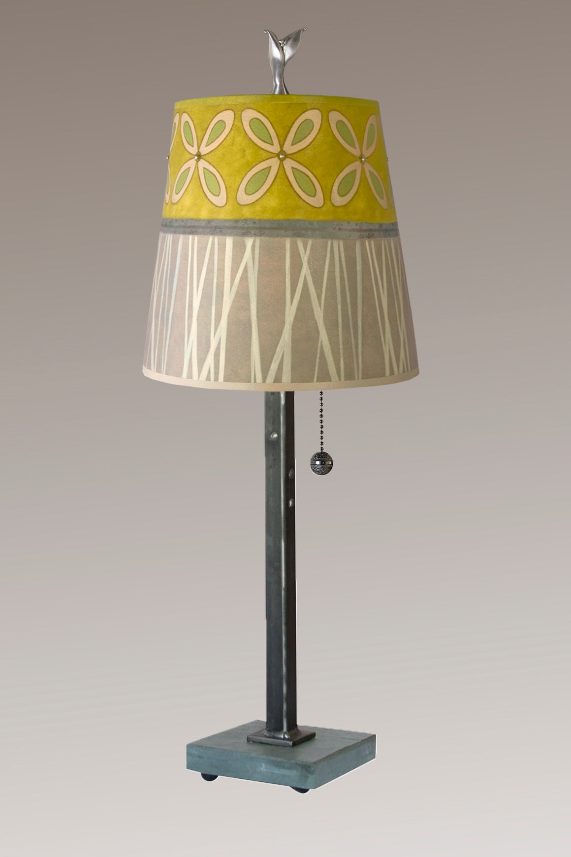 Steel Table Lamp on Vermont Slate Base with Small Drum Shade in Kiwi