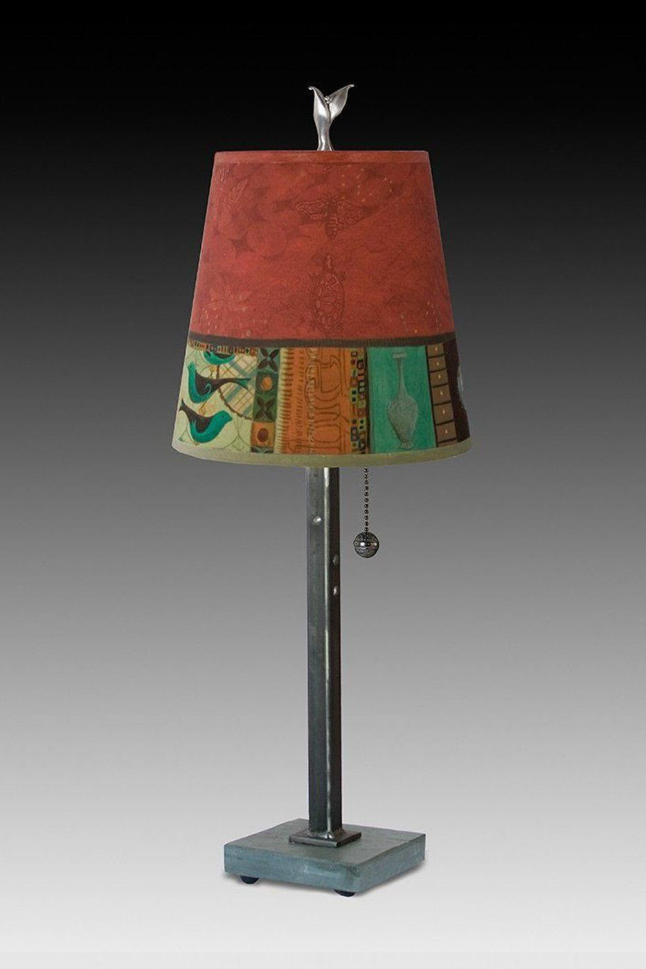 Steel Table Lamp on Vermont Slate Base with Small Drum Shade in Red Match