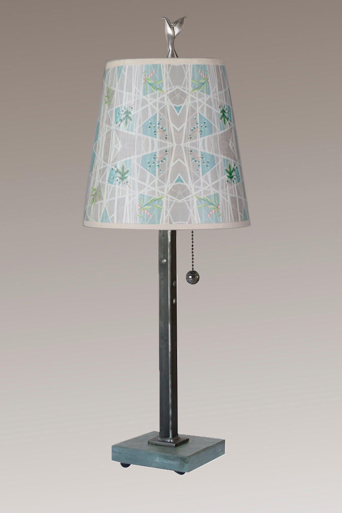 Steel Table Lamp on Vermont Slate Base with Small Drum Shade in Prism