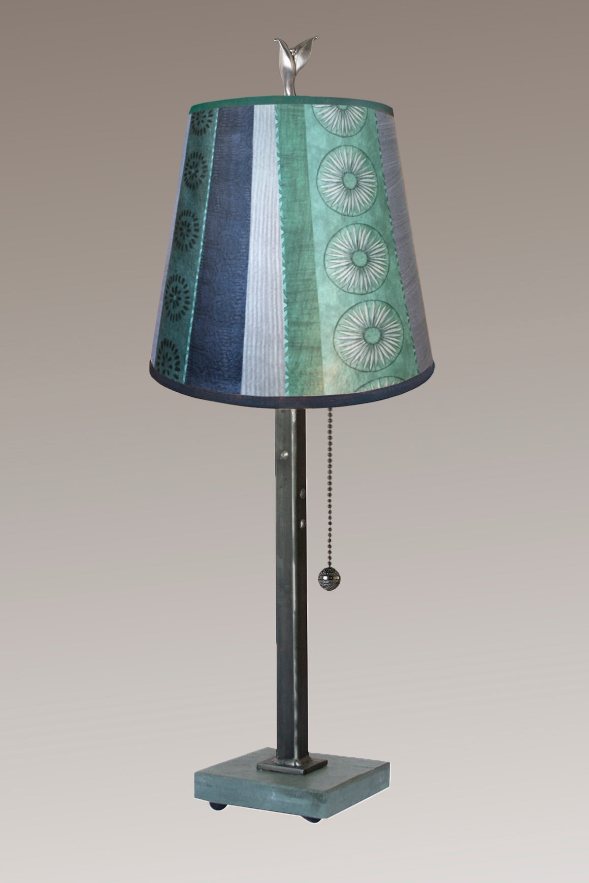 Steel Table Lamp on Vermont Slate Base with Small Drum Shade in Serape Waters