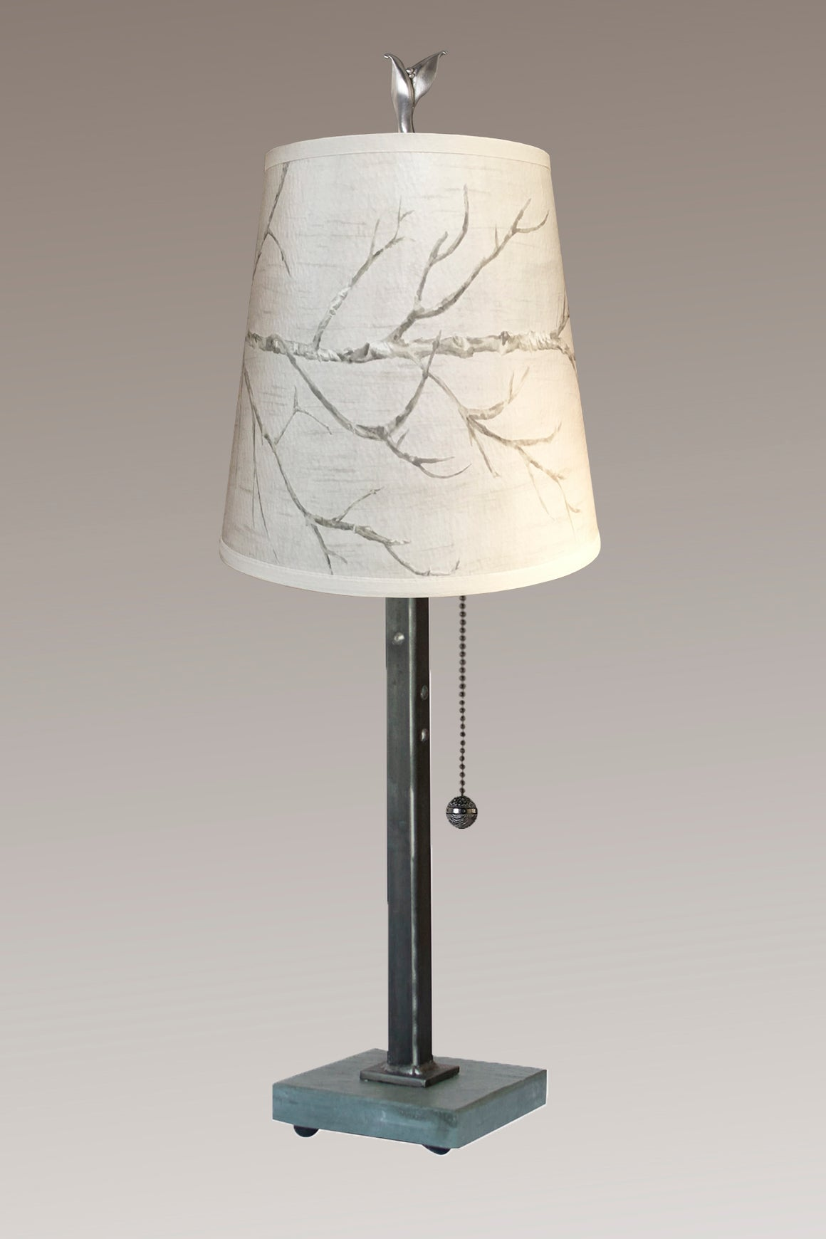 Steel Table Lamp on Vermont Slate Base with Small Drum Shade in Sweeping Branch