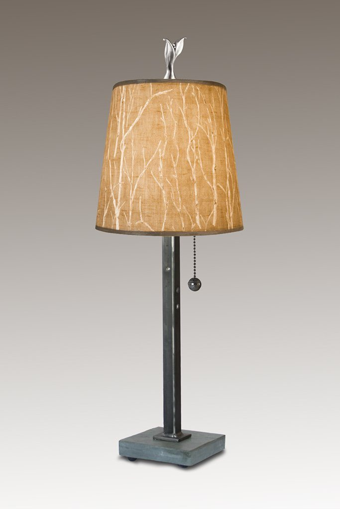 Steel Table Lamp on Italian Marble Base with Small Drum Shade in Twigs