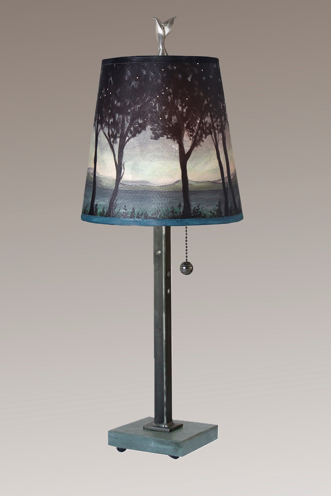 Steel Table Lamp on Vermont Slate Base with Small Drum Shade in Twilight
