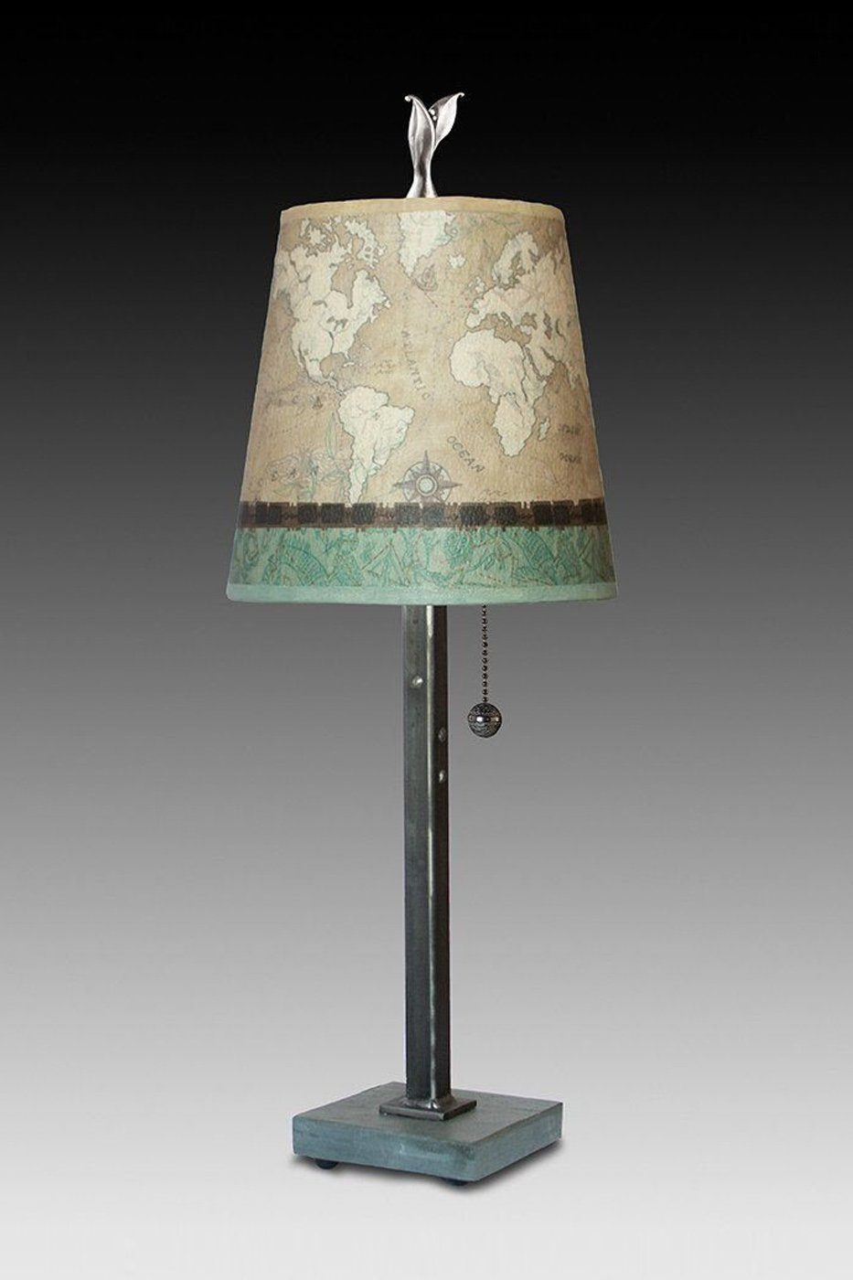 Steel Table Lamp on Vermont Slate Base with Small Drum Shade in Sand Map