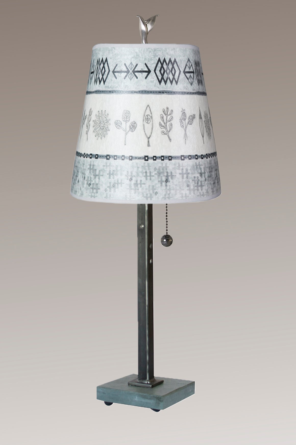 Steel Table Lamp on Vermont Slate Base with Small Drum Shade in Woven & Sprig in Mist