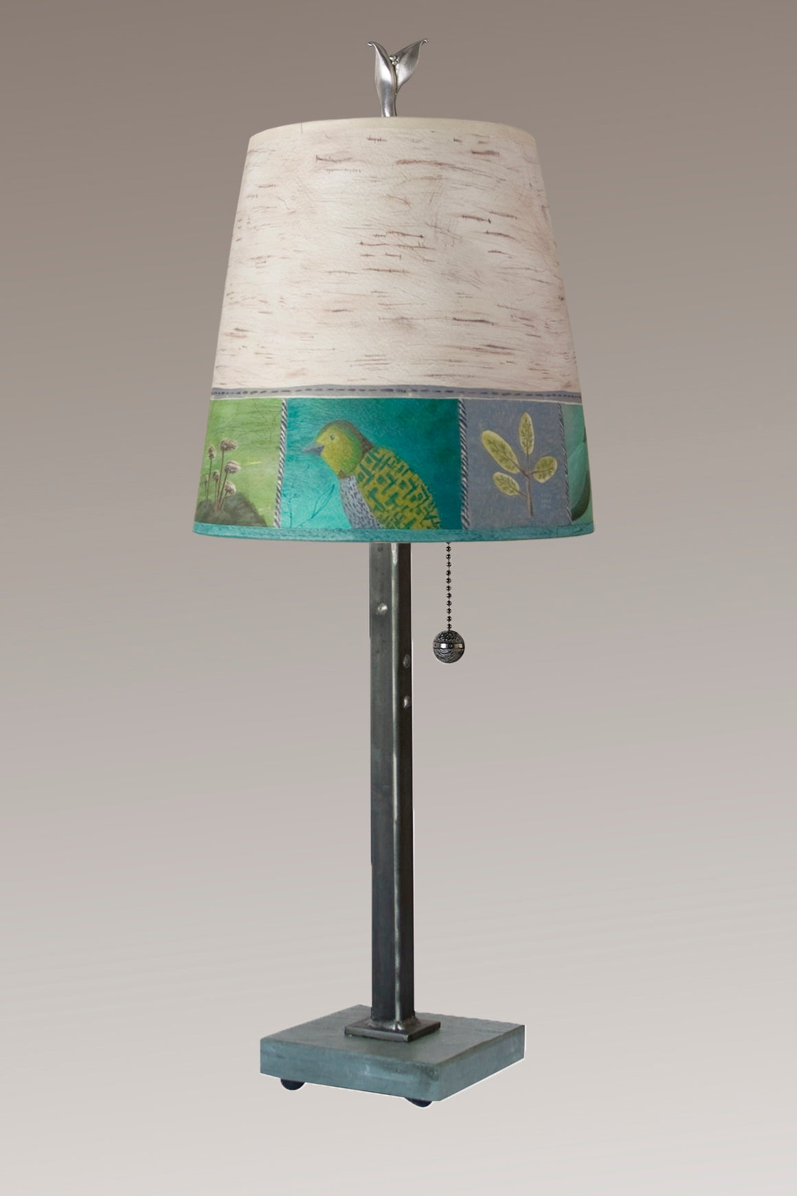 Steel Table Lamp on Vermont Slate Base with Small Drum Shade in Woodland Trails in Birch