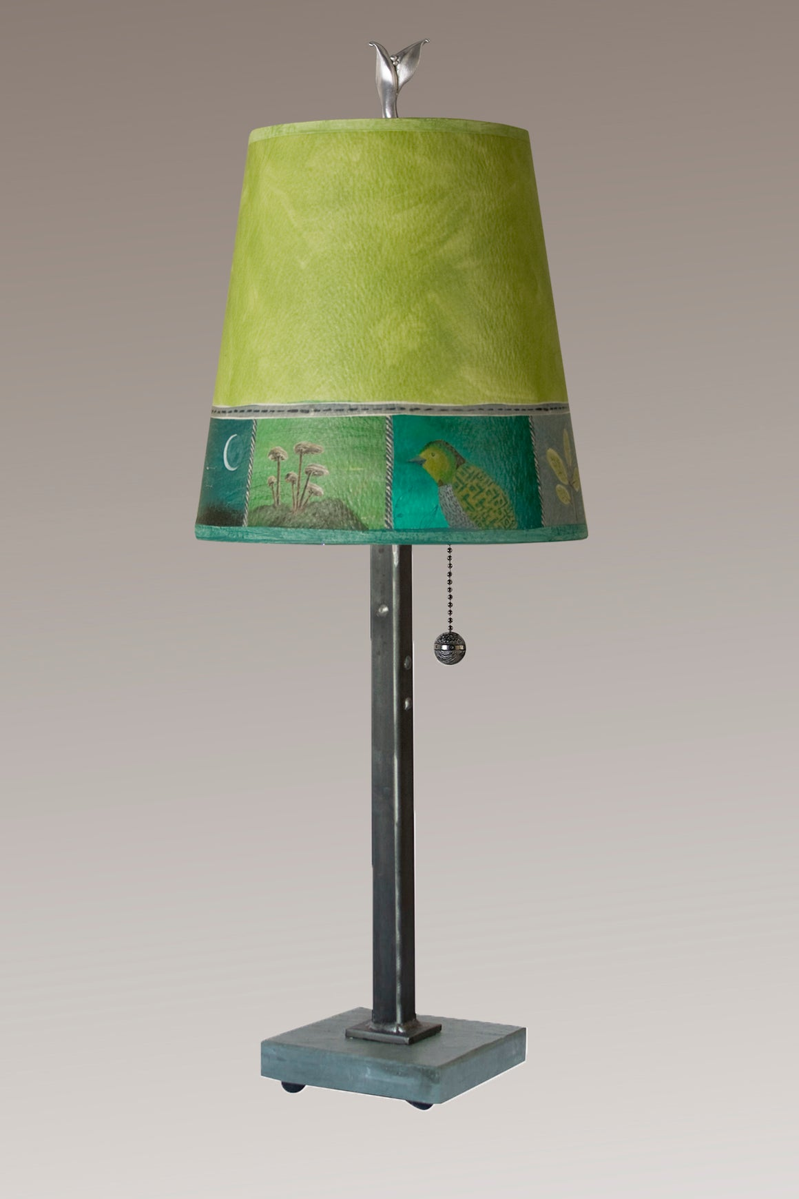 Steel Table Lamp on Vermont Slate Base with Small Drum Shade in Woodland Trails in Leaf