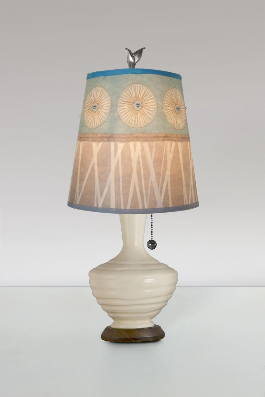 Ivory Ceramic Table Lamp with Small Drum Shade in Pool