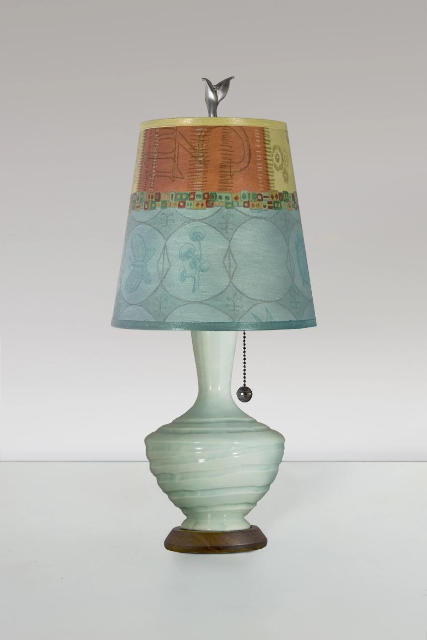 Jade Ceramic Table Lamp with Small Drum Shade in Paradise Pool