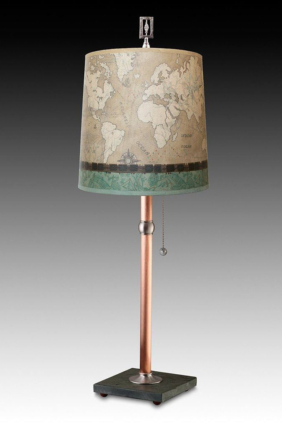 Copper Table Lamp with Medium Drum Shade in Sand Map
