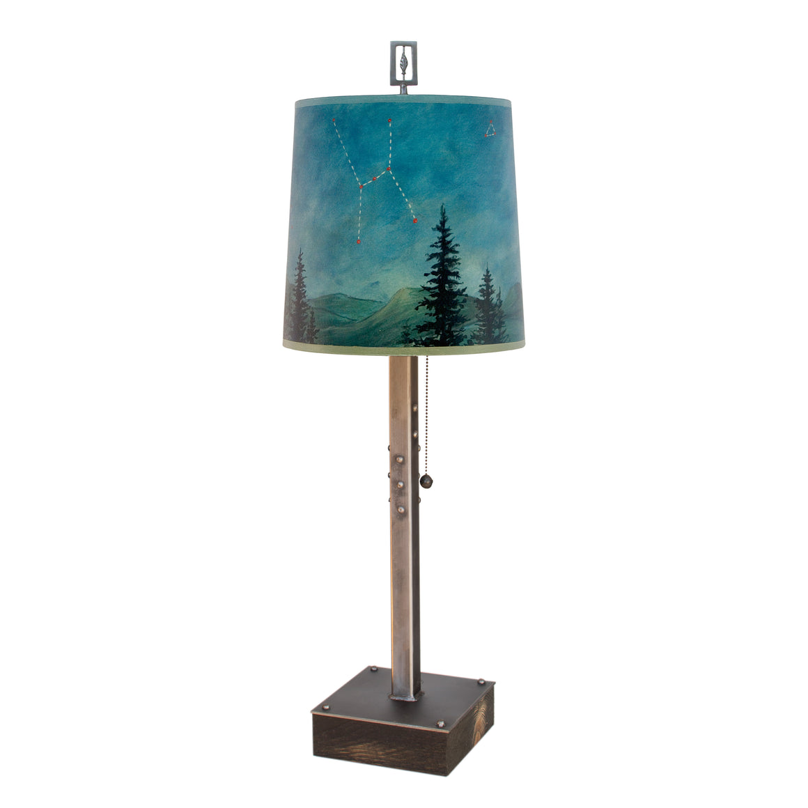 Steel Table Lamp on Wood with Medium Drum Shade in Midnight Sky