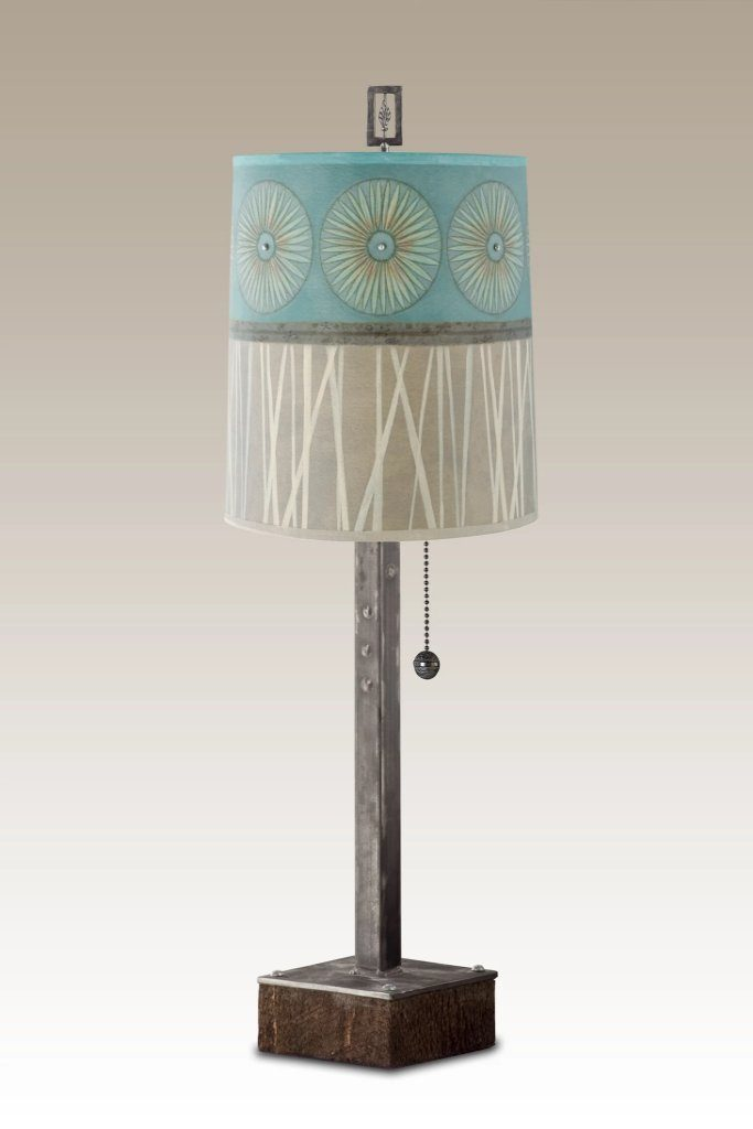 Steel Table Lamp on Wood with Medium Drum Shade in Pool